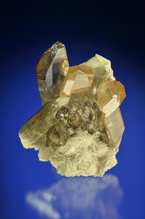 TOPAZ on QUARTZ var. Smoky with ALBITE (repaired)