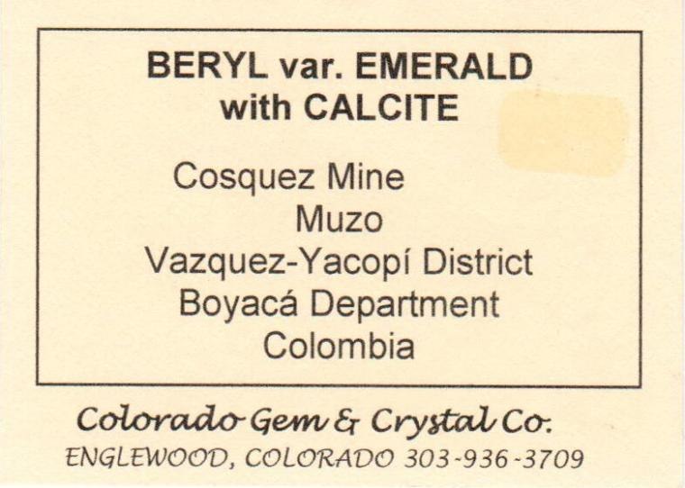 BERYL var. Emerald on CALCITE