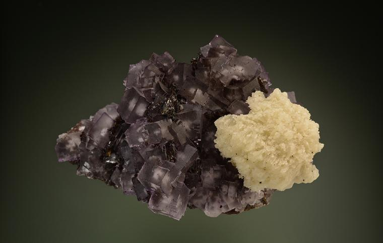 FLUORITE with BARITE on SPHALERITE