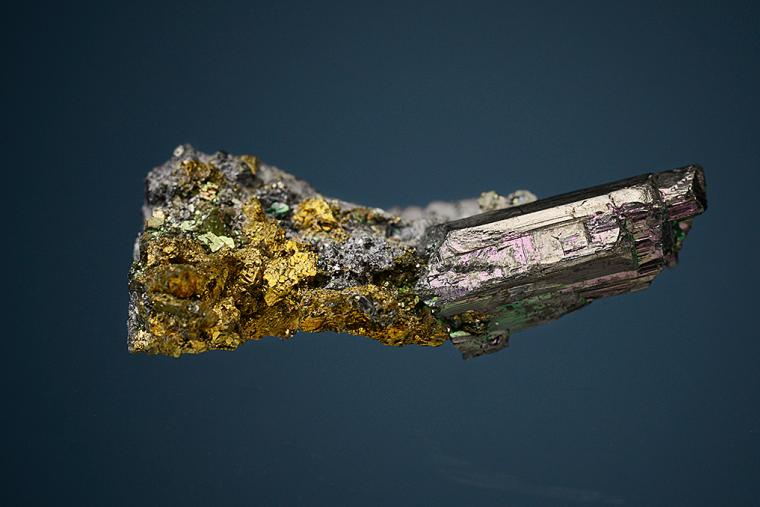 STEPHANITE with CHALCOPYRITE on GALENA