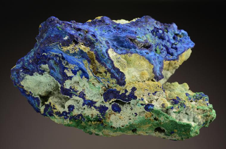 AZURITE with CHALCOALUMITE and MALACHITE