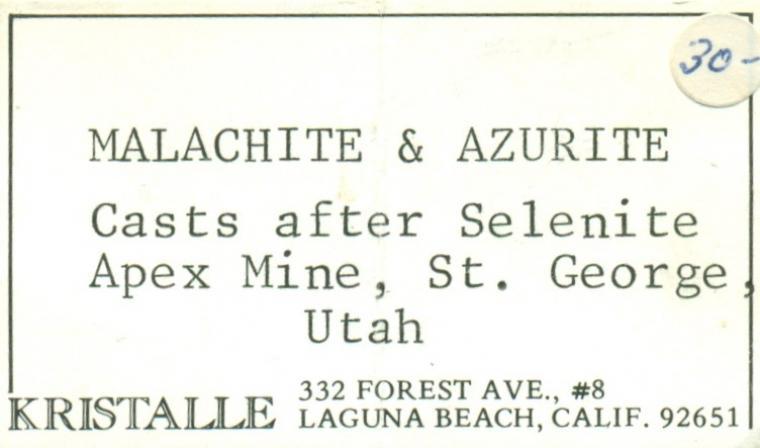 MALACHITE and AZURITE after Selenite