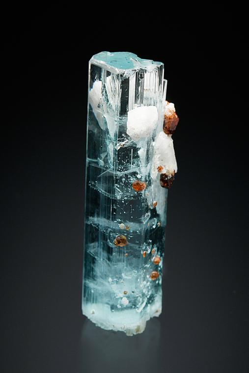 BERYL var. Aquamarine with SPESSARTINE