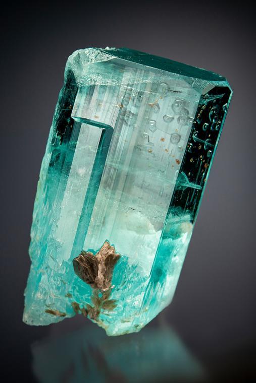BERYL var. Aquamarine with SPESSARTINE