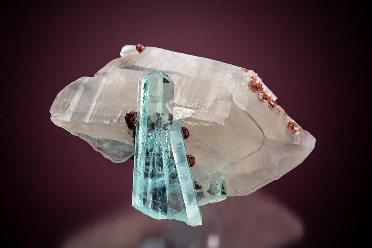 BERYL var. Aquamarine with SPESSARTINE on QUARTZ